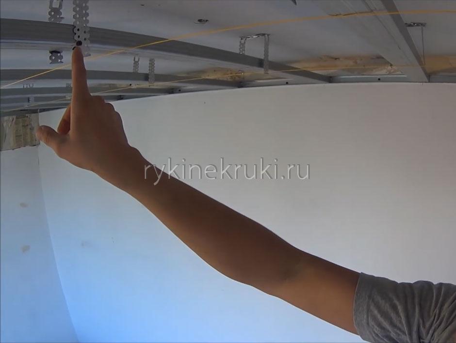 как сделать каркас для гипсокартона на потолке